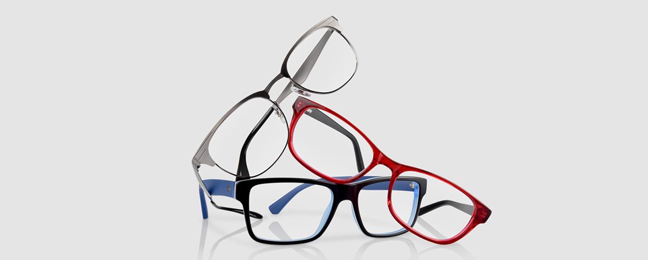 drei gestapelte Brillen
