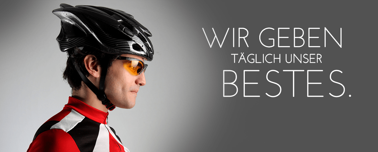 Radfahrer mit Helm und Brille